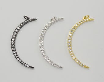 Clear Cubic Zirconia Pave Crescent Moon Pendant, 45mm x 18mm, 1 Piece, Pave Setting