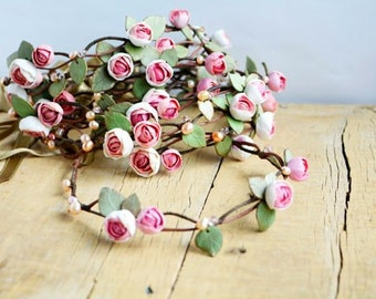 Bridesmaid flower crown set Wedding floral crown Roses head wreath  Roses flower halo Wedding pink halo Floral hair wreath Set hair wreath