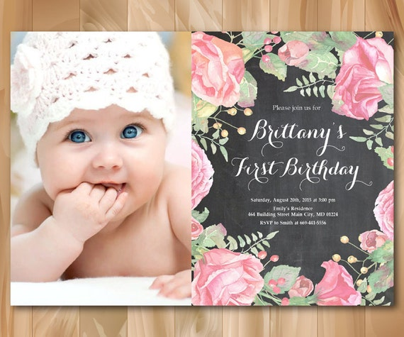 1st birthday invitation with photo baby girl first birthday filmwisefo