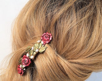 Red Rose Hair Barrette, with Pearls, Ex large hair Barrette
