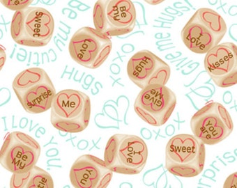 "Love Fabric: Love is All Around Heart Dice Fabric by Quilting Treasures - hugs & kisses 100% cotton Fabric by the yard 36""x44""  (QT247)"