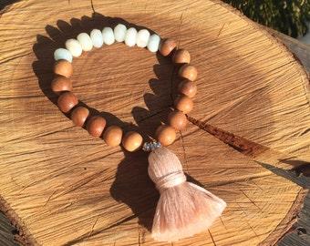 Sandalwood -Amazonite-Tassel bracelet, sterling silver 925, handmade tassel, fragrant Sandalwood, yoga bracelet, boho chic