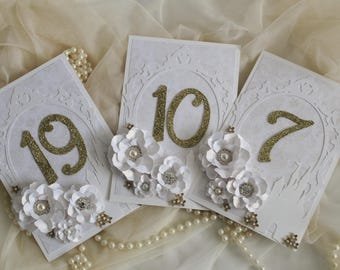 Gold fairy tale wedding table numbers, fairytale decorations, gold and white wedding table