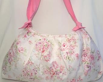 SALE!! Market Bag, Baby Bag, Purse, Cross Body, Vintage Look, Floral, Shoulder Bag, Mom's Bag, Pink, White