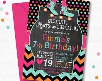 Roller Skate Birthday Party Invitation Skating Rink Skates