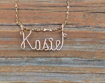 Kasie Name Necklace, Handcrafted Cursive Name in Script, Gold or Silver, Personalized Name Your Choice, Kasie Name jewelry, Mom Gift