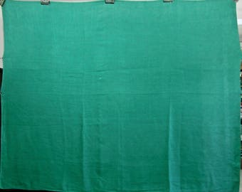 Vintage Green Tablecloth in Linen-Cotton Blend, 60 Inches by 74 Inches