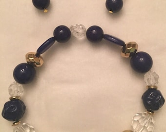 Navy or pink and crystal bracelet