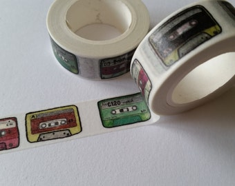 Cassette Mixed-Tape illustrated style Washi Tape