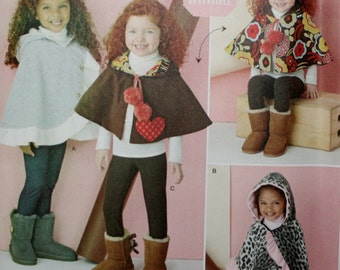 Simplicity 1263 Child's Poncho and Reversible Cape Sewing Pattern New/Uncut Size: Small-Large