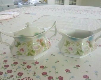 Vintage Rose Sugar and Creamer