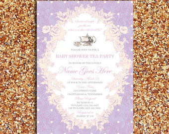 Vintage, Floral Baby Shower or Bridal Tea Party Invitation | DIY Printable Digital File
