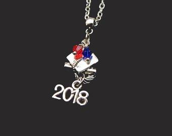 GRADUATION 2018 NECKLACE - You Choose Bead (School) Colors - Graduation Commencement - Perfect Gift Idea