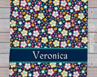 Adult or toddler floral blanket with name