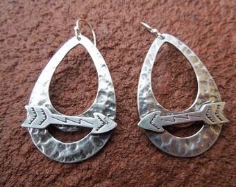 Sterling Silver Teardrop Hoop Earrings with Arrow