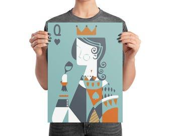 Queen Card Art Print | Multiple Sizes | Home Decor | Wall Art | Poster | Auggie Lamb