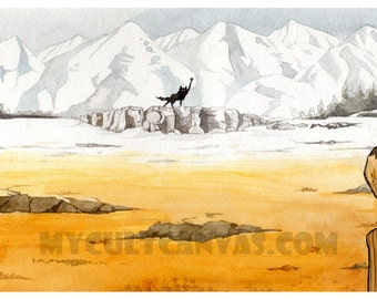 "Original ""Canis Lupus"" Giclée Art Print 10"" x 20"" Poster Fantastic Mr. Fox Wes Anderson"