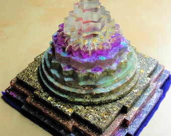 "Meru Shree Yantra Lavender Temple 6 x 5"" Metaphysical Glow in the Dark Orgone Matrix (150 x 125mm) Chakras Crystal"