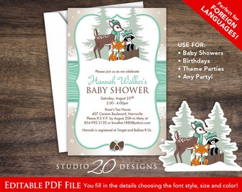 Instant Download Mint Winter Woodland Baby Shower Invitations Editable Pdf, DIY 4x6 Forest Friends Invites AUTOFILL enabled 77A