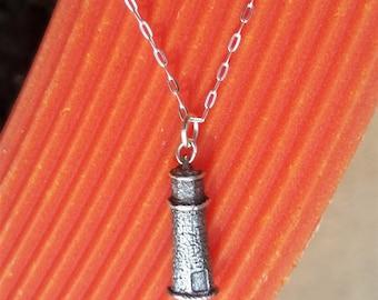 Petite Sterling Silver Lighthouse Pendant