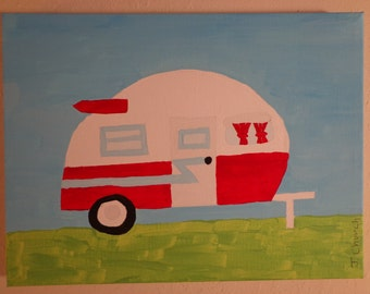 Camper Painting, Measures 9 inches by 11 inches, Original Acrylic Painting,