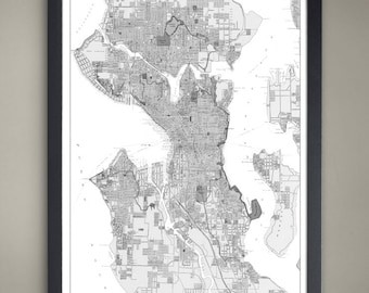 Seattle City Map - Seattle City Poster - Seattle City Print - Seattle Map - Seattle Map Print - Seattle Poster - Map of Seattle City