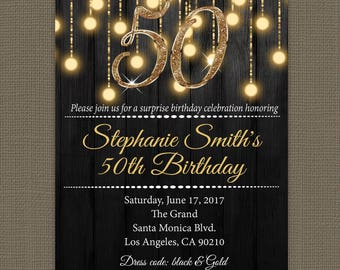 Gold 50th birthday invitations - 50th Birthday Invitation for Women - Milestone Birthday Invitation - Printed Invitations #GLP301_10