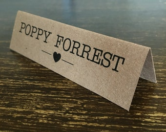 Place card, name cards. Kraft. Rustic. Country chic. Vintage. Heart. Typewriter.