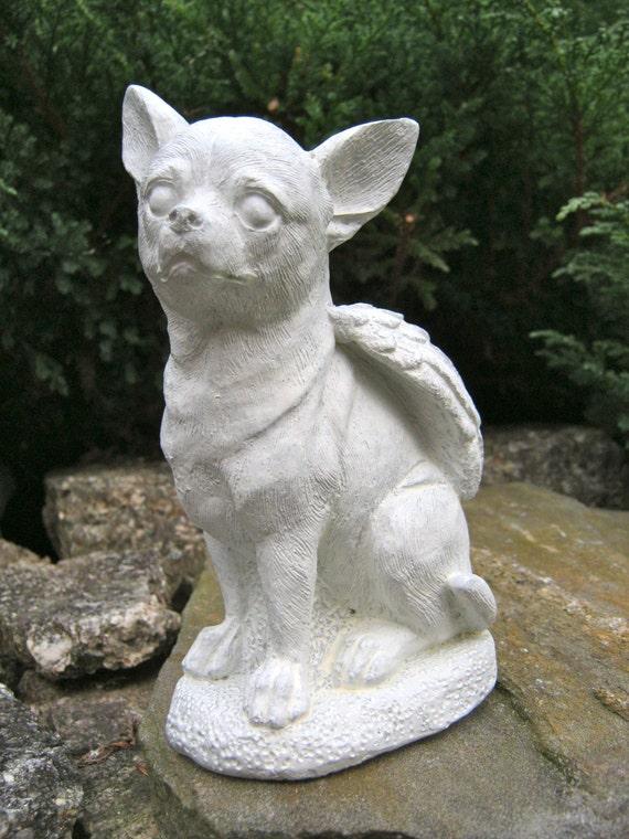 Chihuahua Dog Angel White Gray Concrete Garden Statue