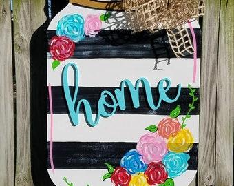 mason jar door hanger, mason jar sign, mason jar wreath, housewarming gift, mothers day gift