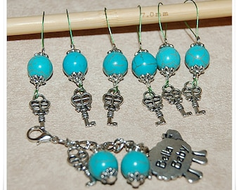 Stitch markers for knitting with turquoise and key rings