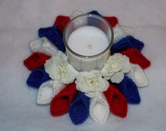 Red, white and blue candle holder