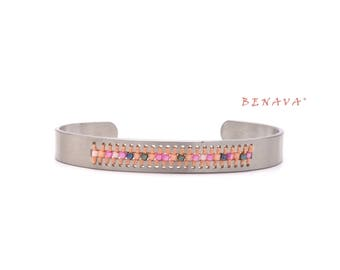 BOHO stainless steel bangle silver pink beads