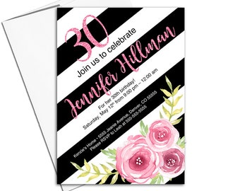 30th birthday for her printable, adult birthday invitation, floral 30th birthday invitation, pink, black and white stripes - WLP00370