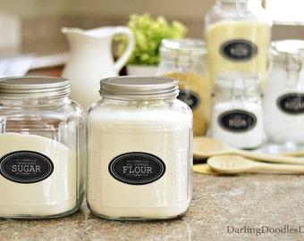 Chalkboard Pantry Labels - Printable Pantry Labels - Kitchen Label Set - Mason Jar Labels - Baking Canister Labels - Instant Download -