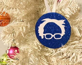 Bernie Sanders Glittery Ornament - Dark Blue and White - Feel the Bern