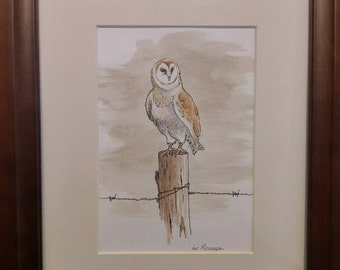 Owl on fence post watercolor