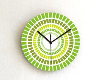 Green Mint Geometric Modern Kitchen Wall clock / Holiday gift idea