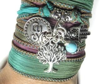 Tree of Life Silk Wrap Bracelet Yoga Bracelet Hamsa Hand Of Fatima Om Bohemian Spiritual Bracelet Yoga Jewelry Namaste Birthday Gift For Her