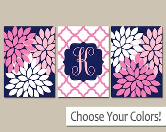 Navy Pink Nursery Wall Art, Monogram Baby Girl Nursery Wall Art, Girl Bedroom Pictures, CANVAS or Prints Girl Decor  Set of 3 Wall Decor
