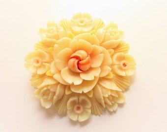 Vintage Ivory Celluloid Flower Brooch Japan 1940s signed