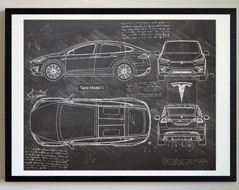 Tesla blueprint etsy tesla model x 2017 da vinci sketch tesla artwork blueprint specs blueprint patent prints posters tesla decor car art cars 450 malvernweather Images