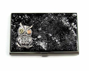 Robot Owl Business Card Holder with Gear and Cog Inlaid in Hand Painted Enamel Metal Wallet Steam Punk Inspired with Personalized Options