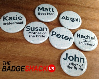 Personalised badges for wedding/ party/ event (size 3.8cm diameter)