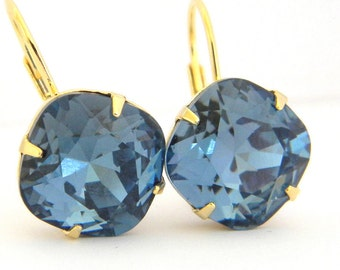 Swarovski Denim Blue Cushion Cut Gold Prong Leverback Earrings
