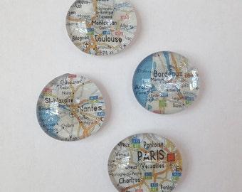 Glass Gem Map Magnets