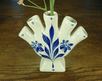 FINGER BUD VASE- Salt Glazed, Delft Blue