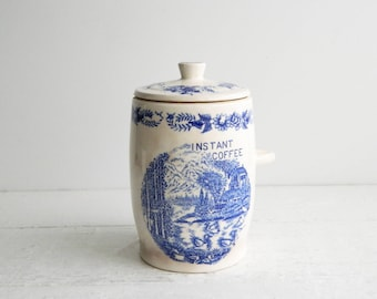 Vintage Ceramic Instant Coffee Canister - Blue Transferware