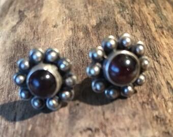 Garnet Studs...Sterling Silver Studs...Handmade Vintage Earrings...Ethnic...Hippy...Gypsy...Vintage Shop...LV110