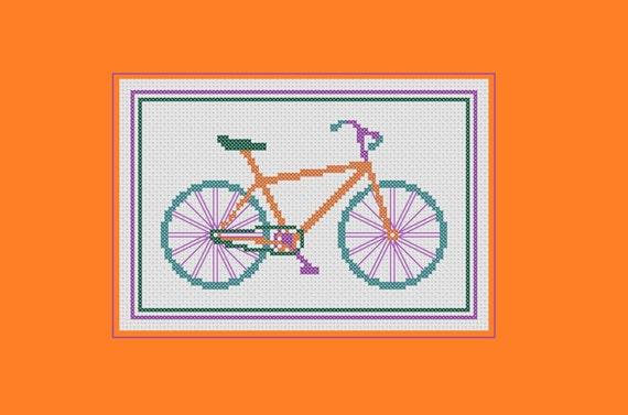 Bicicleta punto de cruz patrón: moto colores